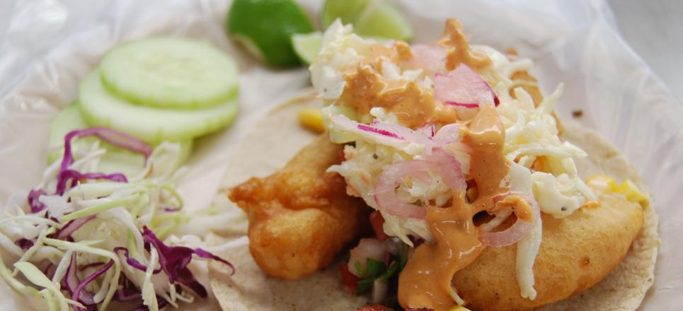 Tacos de pescado y de langosta